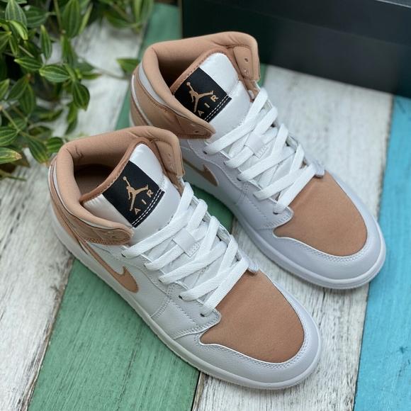 Shoes Nike Air Jordan 1 Mid White Rose Gold Poshmark